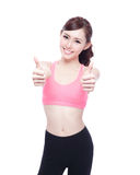 Sport girl show thumb up Royalty Free Stock Photos