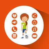 Sport girl soccer game ball graphic Stock Photo