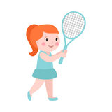 Sport girl tennis player with racket athletic health leisure and good looking kid prepared for active game, action Royalty Free Stock Photo