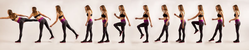 Sport girl walking. Sequence panorama photo in Eadweard Muybridge style of sporty girl walking on a whitish background Stock Images