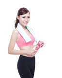 Sport girl with water Royalty Free Stock Photo
