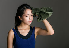 Sport girl wiped by towel Stock Photo