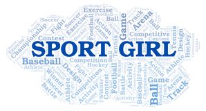 Sport Girl word cloud. Wordcloud made with text only vector illustration