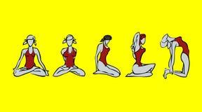 Sport girls icons. Sport, gym girls icons. Spa, yoga emblem stock illustration