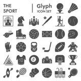 Sport Glyph-Ikonensatz, Spielsymbole Sammlung, Vektorskizzen, Logoillustrationen, feste Piktogramme der Unterhaltungszeichen stock abbildung