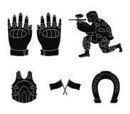 Sport, gra, paintball, rywalizacja Paintball ustalone inkasowe ikony w czerń stylu wektorowym symbolu zaopatrują ilustracyjną sie ilustracji