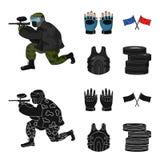 Sport, gra, paintball, rywalizacja Paintball ustalone inkasowe ikony w kreskówce, czerń symbolu stylowy wektorowy zapas ilustracja wektor