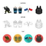 Sport, gra, paintball, rywalizacja Paintball ustalone inkasowe ikony w kreskówce, kontur, mieszkanie symbolu stylowy wektorowy za royalty ilustracja