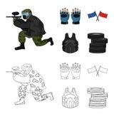 Sport, gra, paintball, rywalizacja Paintball ustalone inkasowe ikony w kreskówce, konturu symbolu stylowy wektorowy zapas ilustracja wektor
