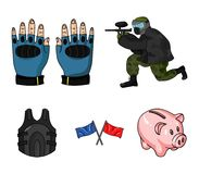 Sport, gra, paintball, rywalizacja Paintball ustalone inkasowe ikony w kreskówka stylu wektorowym symbolu zaopatrują ilustrację ilustracji