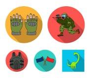 Sport, gra, paintball, rywalizacja Paintball ustalone inkasowe ikony w mieszkanie stylu wektorowym symbolu zaopatrują ilustracyjn ilustracja wektor