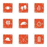 Sport ground icons set, grunge style. Sport ground icons set. Grunge set of 9 sport ground vector icons for web isolated on white background Stock Image