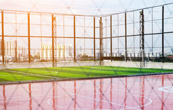 Sport ground for football and basketball. Sport ground with sunlight, competition concept stock photography