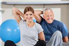 Sport group doing back exercises Stock Images