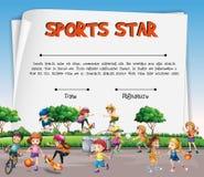 Sport gwiazdy świadectwa szablon z dzieciakami bawić się sporty ilustracja wektor
