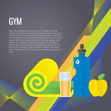 Sport gym background about healthy food, water. Modern vector icons and illustrations in flat style with place for text Stock Images