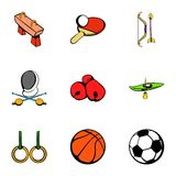Sport gym icons set, cartoon style Royalty Free Stock Images