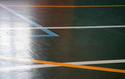 Sport hall shining floor texture with lines Royalty Free Stock Photo