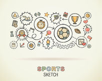 Sport hand draw integrated icons concept Stock Photo