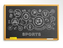 Sport hand draw integrated icons set on school blackboard Stock Images
