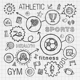 Sport hand draw integrated icons set. Vector sketch Royalty Free Stock Images