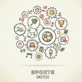 Sport hand draw sketch icons Stock Images