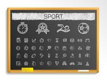 Sport hand drawing line icons. chalk sketch sign illustration on blackboard Stock Photography