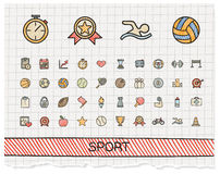 Sport hand drawing line icons. Vector doodle pictogram set: color pen sketch sign illustration on paper with hatch symbols: baseball, football, tennis, bicycle Royalty Free Stock Image