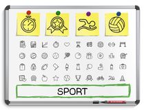 Sport hand drawing line icons. Stock Photo