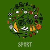 Sport hand-drawn icons Royalty Free Stock Photography