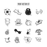 Sport hand drawn set vector white and black. Stock Photography