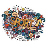 Sport hand lettering and doodles elements Royalty Free Stock Images