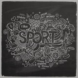 Sport hand lettering and doodles elements Royalty Free Stock Photography