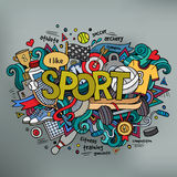 Sport hand lettering and doodles elements Stock Photography