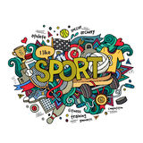 Sport hand lettering and doodles elements Stock Photos