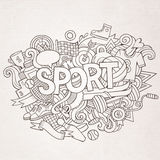 Sport hand lettering and doodles elements Stock Image