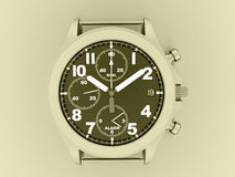 Sport hand watch rendered on yellow Royalty Free Stock Photos