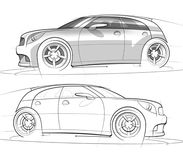Sport Hatchback Sketch and Rendering. Hand drawn sketch and rendering of a sporty four door hatchback car Stock Photo