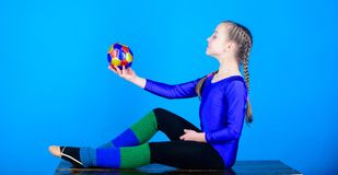 Sport and health. Acrobatics gym workout of teen girl. success. Childhood activity. Fitness diet. Energy. Gymnastics. Happy child sportsman with ball. Towards stock photo