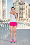 Sport and Health. Athletic woman in sportswear doing sport exerc Stock Photography