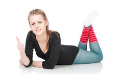 Sport and health care. Weight loss fitness woman. Royalty Free Stock Image