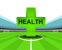Sport health icon in the midfield of football stadium vector Stock Image
