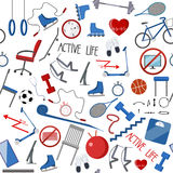 Sport and healthy equipment set Stock Images