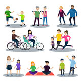 Sport And Healthy Family Set Stock Images