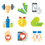 Sport and healthy life concept flat icon set of jogging, gym, food, metrics etc. Stock Images