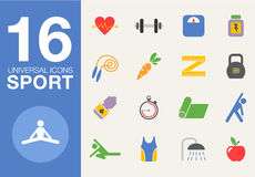 Sport and healthy life concept flat icon set of Stock Image