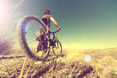 Sport and healthy life.Mountain bike and landscape background. Healthy life.Sport and bike in vintage style.Landscape and bicycle Stock Photo
