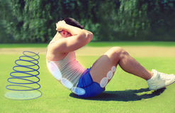 Sport and healthy lifestyle concept - fitness man royalty free stock photography