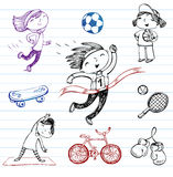 Sport and Healthy lifestyle, doodle set Stock Image