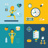 Sport and healthy lifestyle сoncept icons. Set modern trendy flat vector illustration Stock Photo